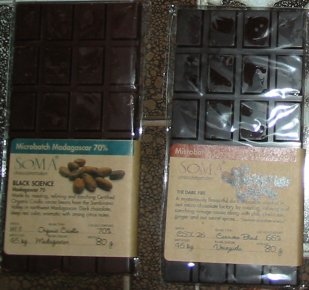 Dark chocolate bars from Soma