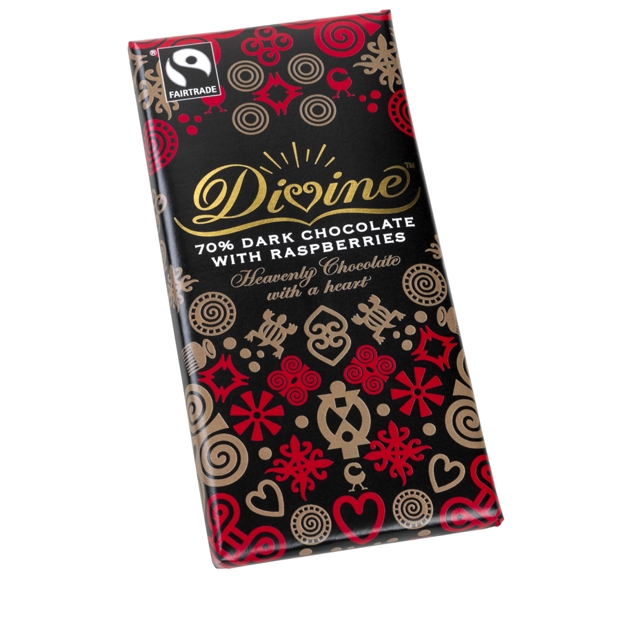 Divine Dark with Raspberries 100g bar