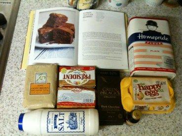 baking my brownies - the ingredients