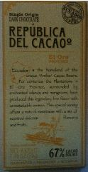 Republica Del Cacao El Oro 67 Chocolate Bar