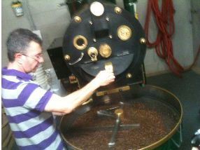 union hand roasted coffee being hand roasted