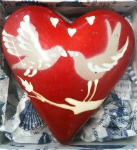 Rococo Love You Hand-Painted Heart with 3 ganaches Lovebirds