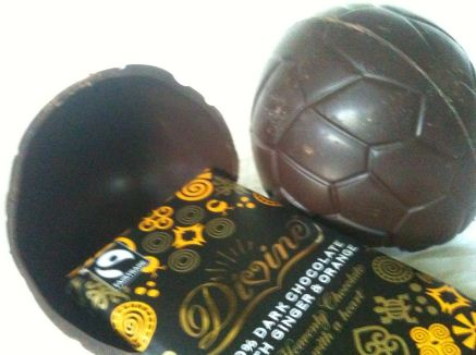 Divine Chocolate 70% Dark Chocolate Easter Egg with Ginger & Orange Bar