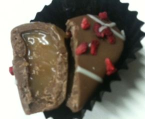 raspberry caramel hearts chocs