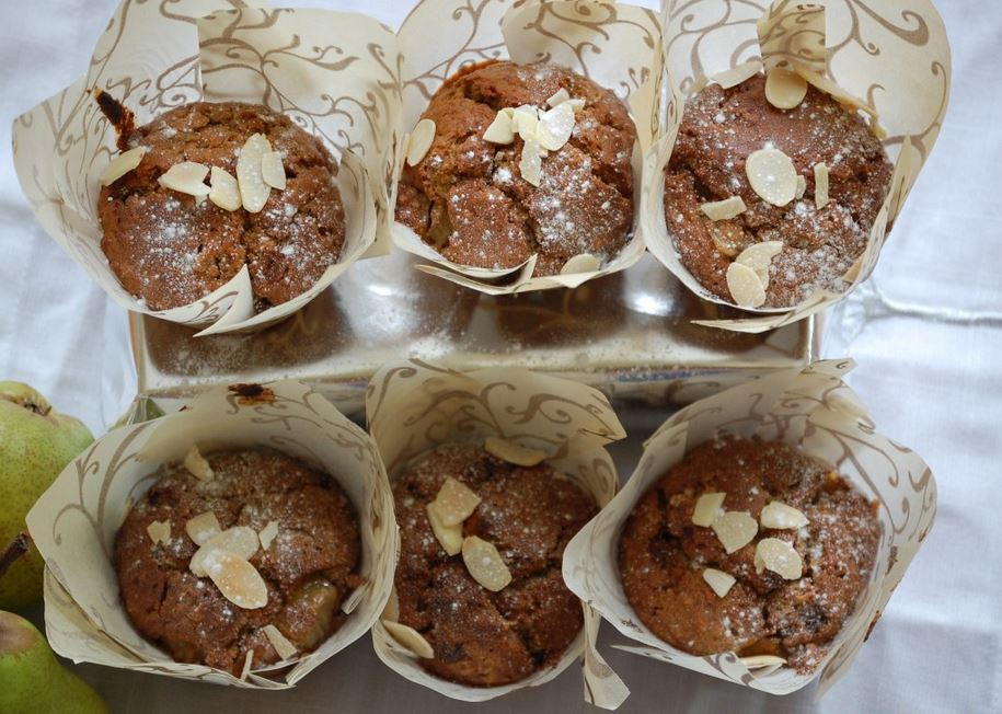 Healthy Breakfast Muffins with Sweet Roasted Pears and White Chocolate Chips