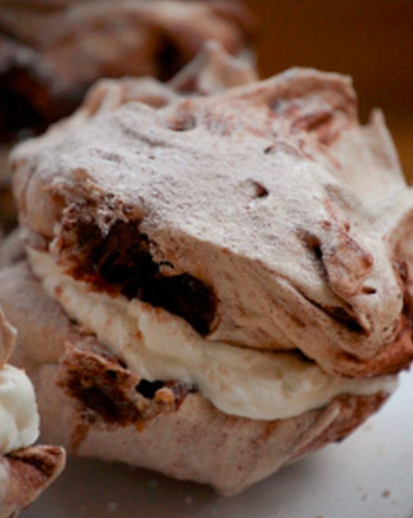 Easy Chocolate Marbled Meringues with Chopped Hazelnuts Dessert Recipe