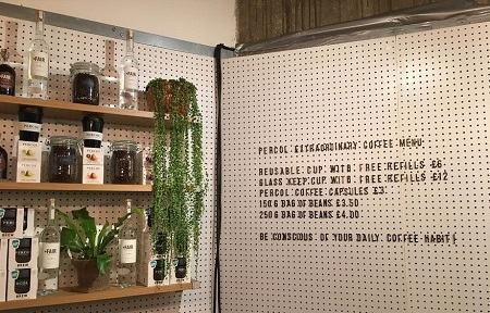 percol coffee cup costs if you don't bring your own