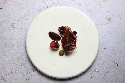 Chocolate Week Menu item Pigeon, Last Summer's Cherries, Acidulated Chocolate