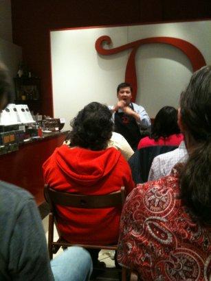 mark demarquette speaking at chocolate event