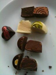 matcha tea chocolate winter chocolates cut open