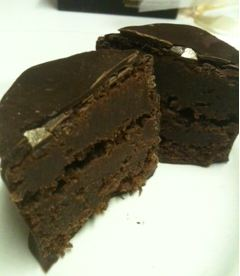 Paul A Young Chocolate Covered Brownies cut
