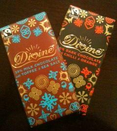 Divine Chocolate Milk Toffee Sea Salt and Dark Spicy Orange Bars Reviewed