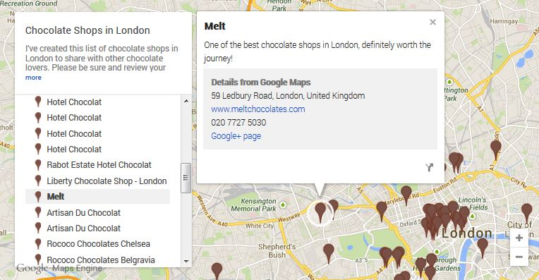 Map of London chocolate shops