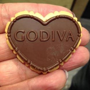 Godiva heart cookie