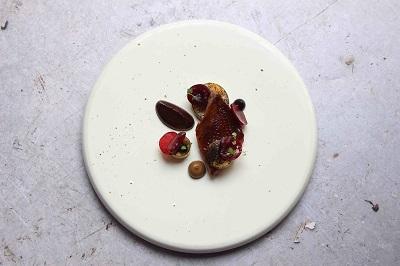 Chocolate Week Menu item Pigeon, Last Summer's Cherries, Acidulated Chocolate